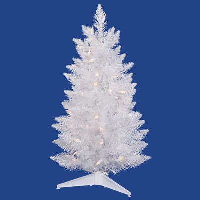 3ft white pencil christmas tree prelit crystal white led