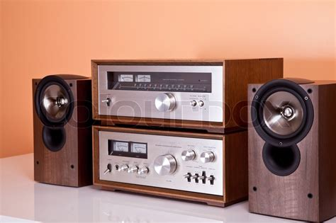 retro hi fi cabinet vintage hi fi stereo lifier tuner and speakers in