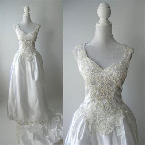 White Retro Wedding Dresses by Vintage Wedding Gown White Satin Wedding Dress 1980