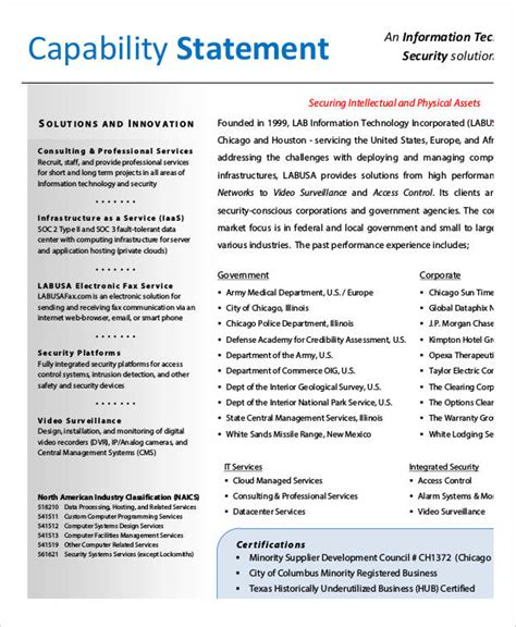capabilities statement template capability statement templates 9 free pdf documents
