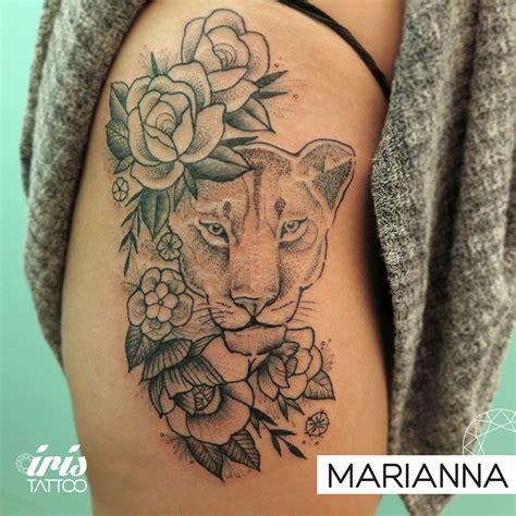 lioness tattoo design lioness flowers roses leones leonas