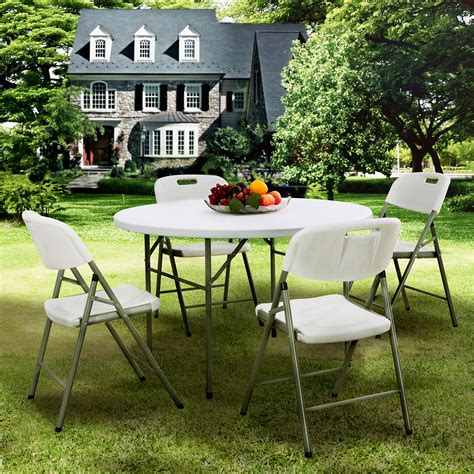 White Patio Dining Table And Chairs White Folding Table Dining Table And Chairs Set Outdoor Garden Patio Ebay