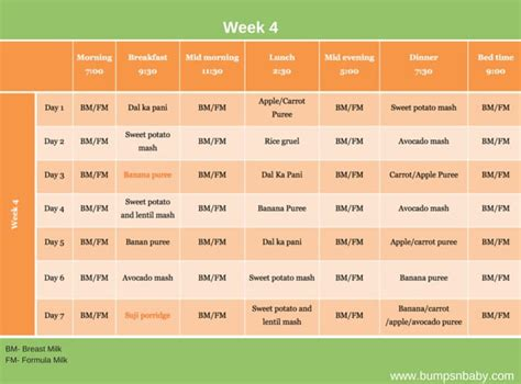 vegetables 5 month baby 6 month feeding schedule free printable food charts