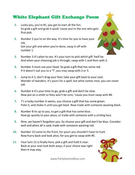white elephant gift exchange printable