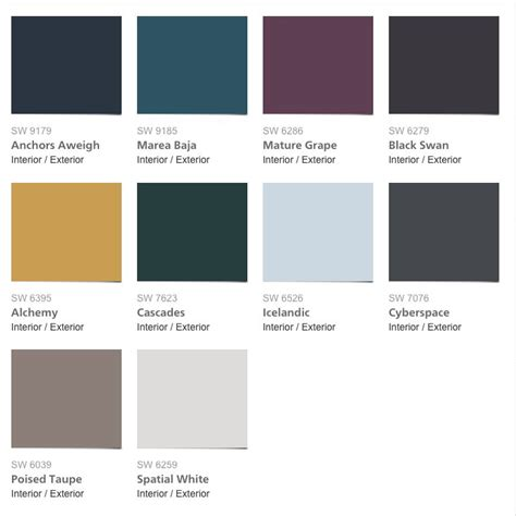 Sherwin Williams Paint Colors 2017 | sherwin williams colormix 2017 collection noir 2017