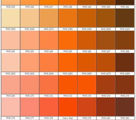 shades of orange color chart pms color chart free pantone matching system color chart pdf 21 page s page best 10