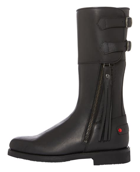 biker boots in black leather