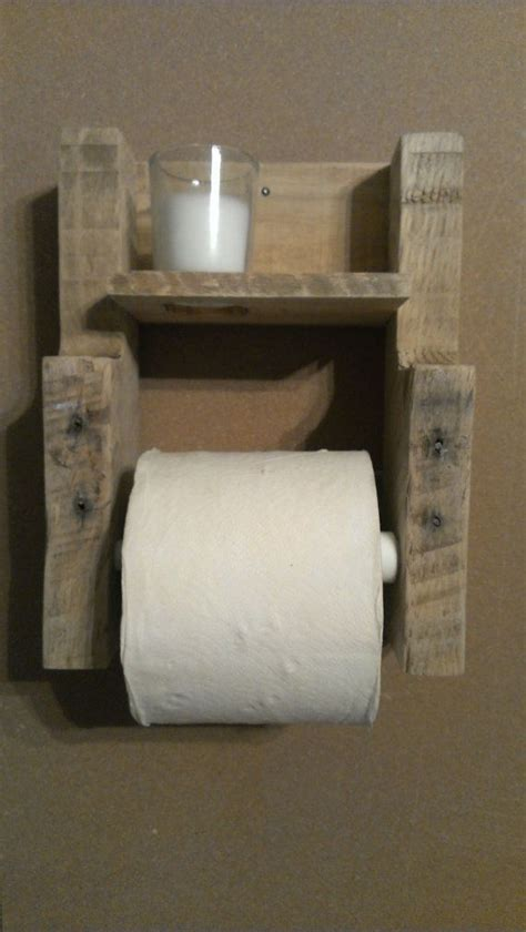 Make Toilet Paper Holder - rustic pallet wood toilet paper holder with candle by