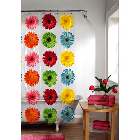 gerber daisy shower curtain gerber daisy peva shower curtain floral walmart com