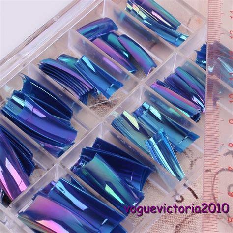 Künstliche Nägel by 100 Regenbogen Marineblau Nail Tips K 252 Nstliche N 228 Gel Ebay