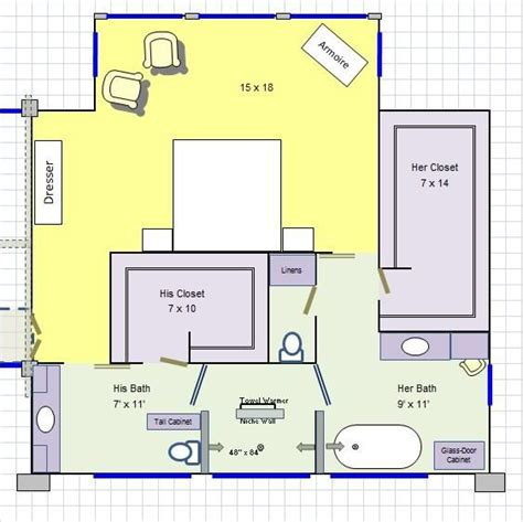 master bath closet floor plans his her master bathroom floor plan love it for the