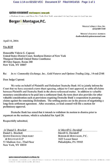 Deutsche Bank Letter Of Credit deutsche bank admits to silver and gold price rigging vl