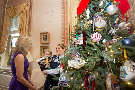 dr jill biden hosts a national guard christmas tree