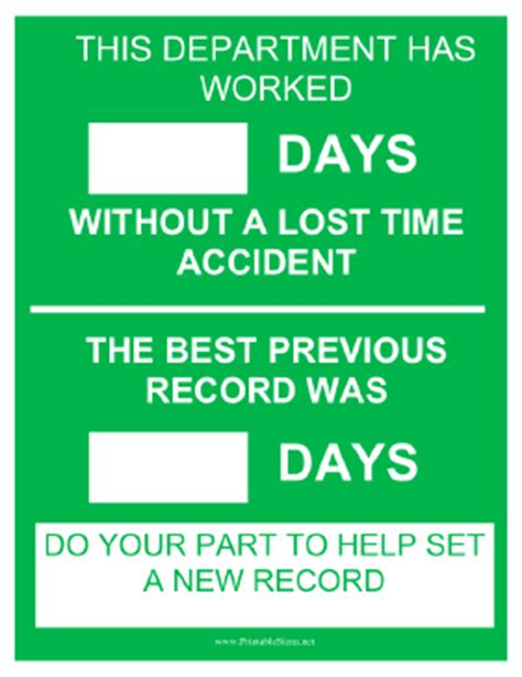 Department Of Safety Records Printable Department Safety Record Sign