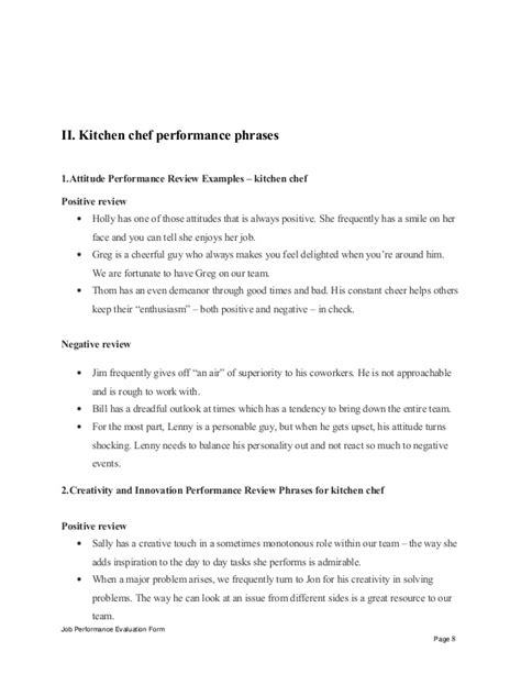 Appraisal Air Letter Kitchen Chef Performance Appraisal