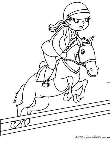 girl on jumping horse coloring pages hellokids com