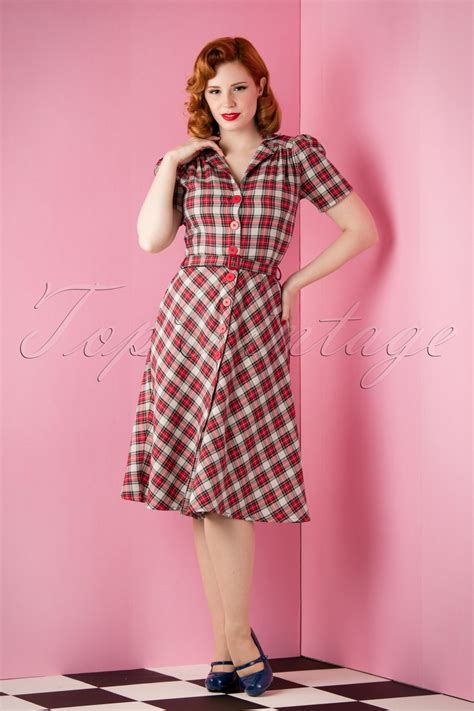 Top Vintage by Topvintage Exclusive 40s Tartan Dress In Grey And