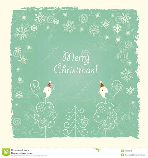 merry christmas cards free download retro christmas card with snowflakes and birds stock
