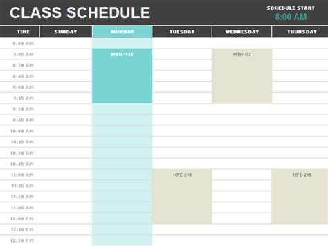 college school schedule template schedules office