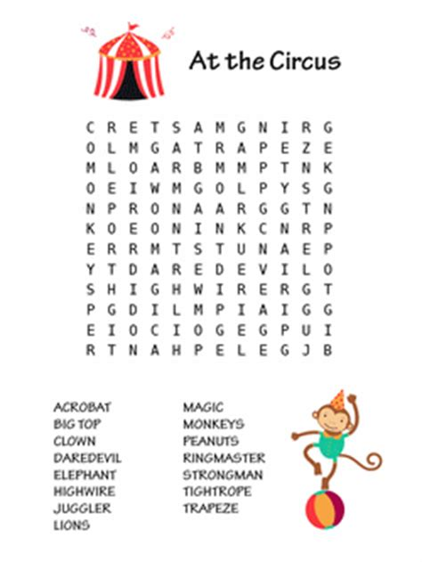 Thematic Magnet Puzzle Circus at the circus word search one of the word search puzzles in our printable book word searches