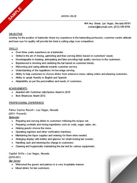 Resume Cover Letter Sles For Bartenders Bartender Resume Sle