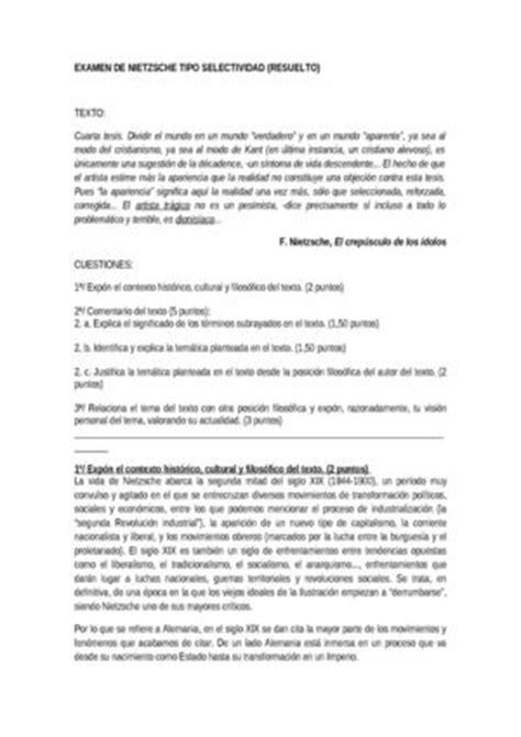 modelo de examen de selectividad resuelto descartes texto calam 233 o examen resuelto selectividad nietzsche