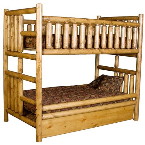 Pine Log Bunk Beds Pine Log Collection Northwoods Bunk Bedw Trundle Log099