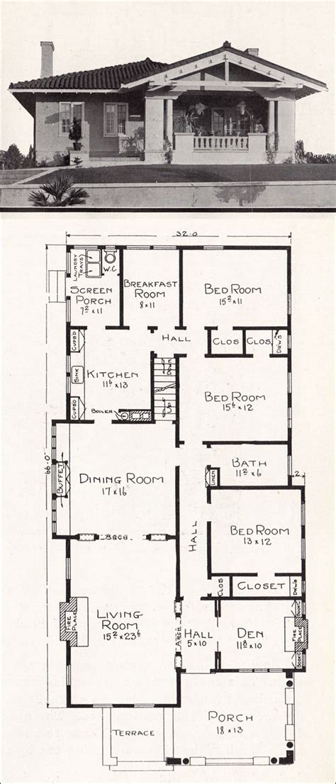 california floor plans mediterranean style bungalow c 1918 home plans by e w