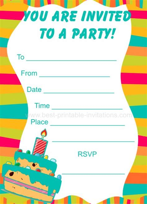 printable children s invitation cards party invitations for kids
