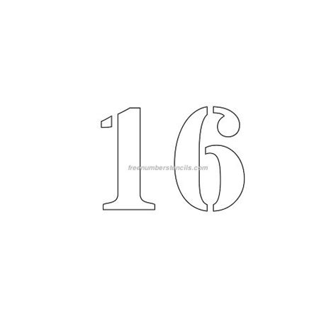 number 16 template free 3 inch 16 number stencil freenumberstencils