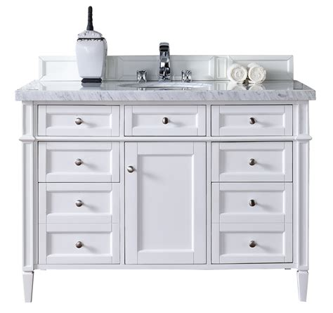 Contemporary 48 Inch Single Bathroom Vanity White Finish White Bathroom Vanity 48