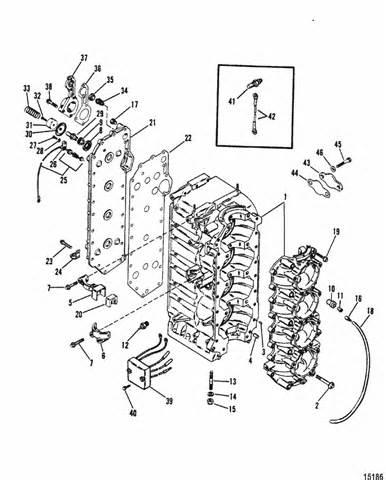 mercury marine 115 hp 4 cylinder cylinder block crankcase parts