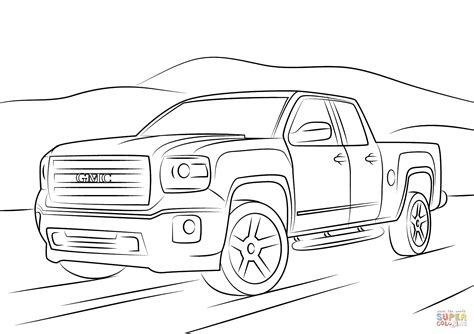 gmc sierra coloring free printable coloring pages