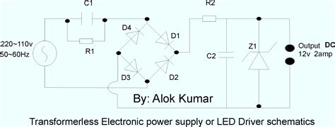 capacitor led power supply electronic circuits transformerless power supply led drivers battery chargers solar circuits