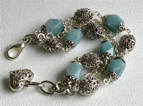 Handmade Beaded Gemstone Jewelry - handmade beaded gemstone bracelet amazonite ooak jewelry