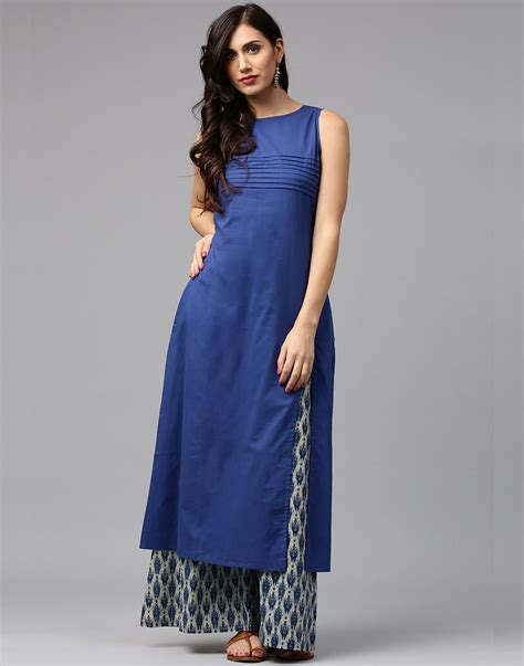 Pallazo Set by Jaipur Kurti Cotton Blue Color Kurta With Blue Printed