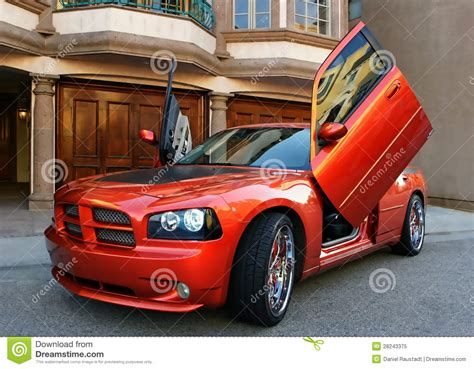 red american sports car royalty  stock photo image