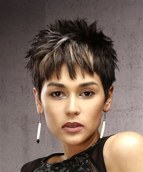 casual short straight pixie hairstyle  razor cut bangs dark brunette hair color