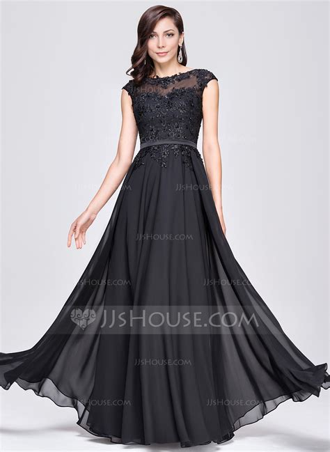 Evening Dressers by A Line Princess Scoop Neck Floor Length Chiffon Evening
