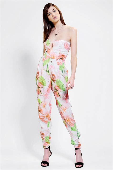 Jumpsuits Flower lyst outfitters shakuhachi midsummer floral jumpsuit in white