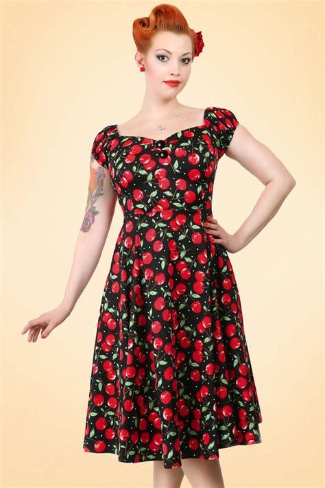 Baju Retro Polkadot 50s dolores cherry polkadot doll swing dress
