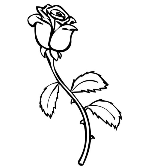 Galerry single rose coloring page