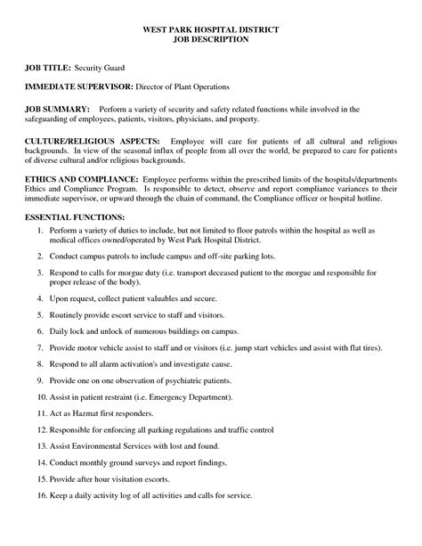 Security Guard Duties by Security Officer Description Resume Resume Ideas