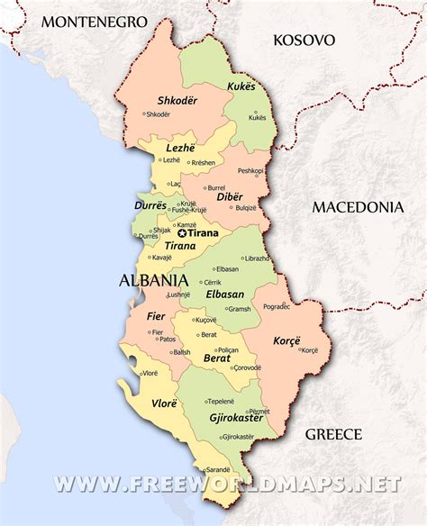 albania political map albania maps