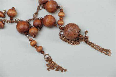Handmade Wooden Necklaces - madeheart gt handmade wooden bead necklace on copper chain