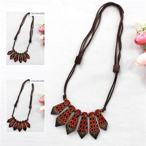 Kalung U Anjing Motif Kaki kalung tali tarik motif kayu batik kalung etnik murah