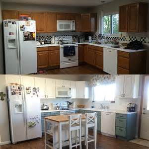 Milk Paint For Kitchen Cabinets Kitchen Renovation General Finishes Milk Paint Antique White Blue On The Cabinets
