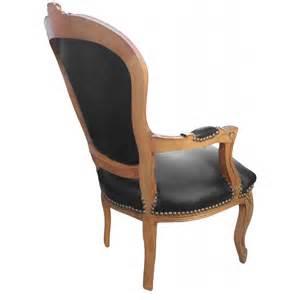 fauteuil de style louis xv simili cuir noir et bois naturel