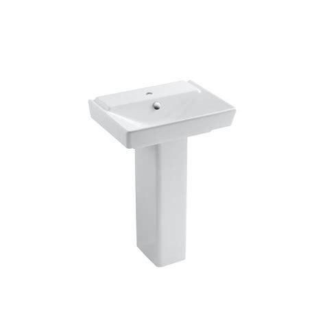 overflow hole in sink kohler reve single hole ceramic pedestal bathroom sink