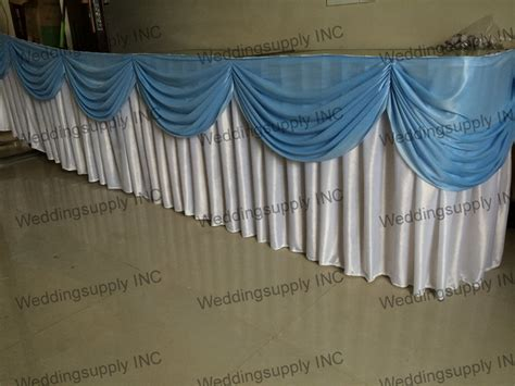 5 Pieces13ft Wedding Table Skirting With Sapphire Swag Buffet Table Skirting